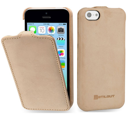 custodia in vera pelle per iPhone 5c di StilGut – modello UltraSlim in beige