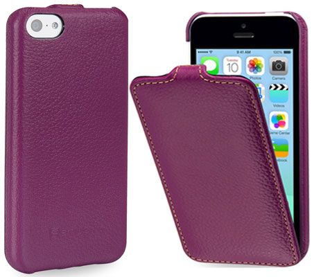 cover per iPhone 5c in pelle di StilGut – modello UltraSlim in porpora