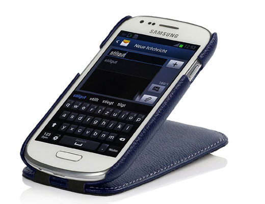 Custodia Samsung Galaxy S3 mini in pelle in blu navy